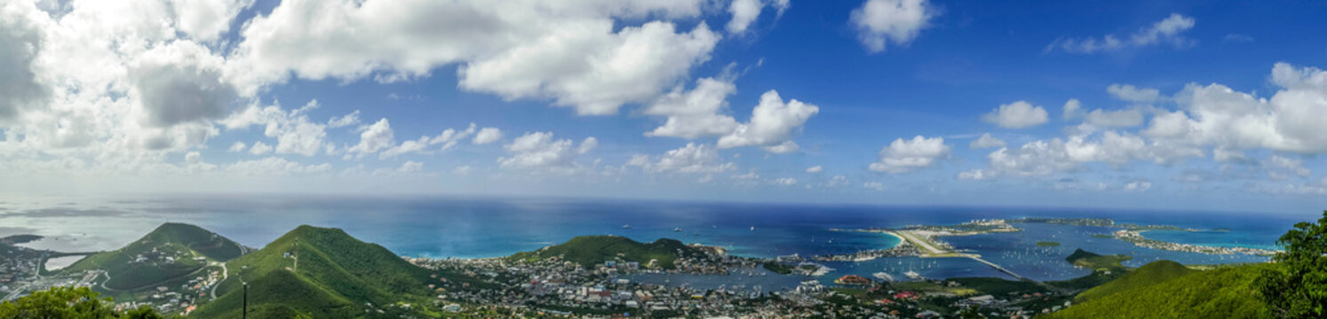 High Beautiful Aerial view of the island of Sint Maarten.