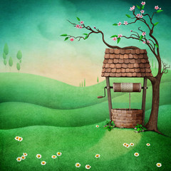 Fantasy illustration background with green landscape and  well under  tree.