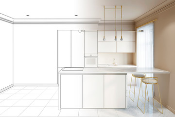 Sketch of a modern interior kitchen with breakfast bar and the empty wall became real interior. 3d illustration