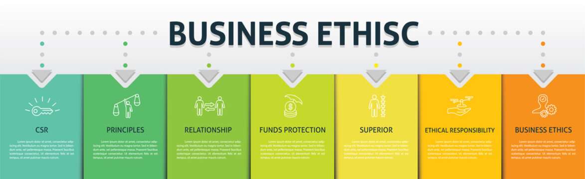 Business Ethics Infographics vector design. Timeline concept include csr, behavior, principles icons. Can be used for report, presentation, diagram, web design