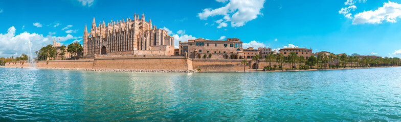 Foto op Canvas Blauw Panorama of the promenade of Palma de Mallorca. The Cathedral of Santa Maria of Palma, Spain, Apr.2019