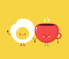 Cute happy fried egg and coffee cuo. Vector cartoon character illustration design,simple flat style. Fried egg and cup character concept