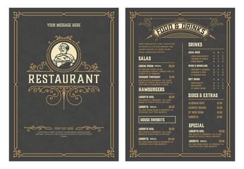 In de dag Restaurant Antique template for restaurant menu design with Chef illustration. Vector layered.