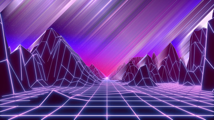 80s retrowave style background. Low poly landscape with neon lights