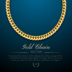 Gold chain jewelry on dark background. Luxury cover design, banner, template, vip invitations and coupon.