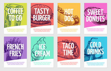 Fast food flyers. Coffee, burger and hotdog, pies and fries, ice cream and cola, sandwich. Restaurant posters vector set