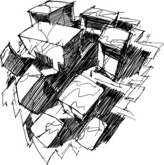 hand drawn architectural sketch of a modern abstract rectangular architecture from fisheye view