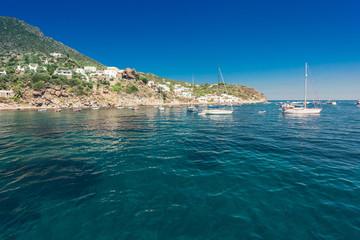 Amazing beach of island Panarea in Mediterranean sea in Italy