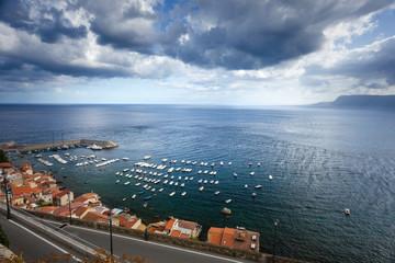 Moody stormy clouds over the mediterranean sea in Scilla calabria