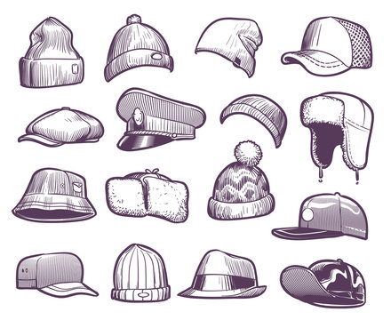 Sketch hats. Fashion mens caps design. Sports and knitted, baseball and trucker cap, seasonal headwear drawing vector collection