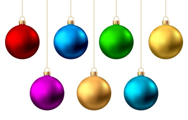 Fotomurales - Realistic  red, gold, silver, blue, green, pink, purple   Christmas  balls.