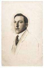 Vintage studio photo portrait young fashion man
