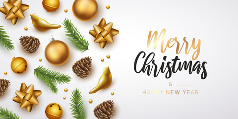 Merry Christmas and happy new year background.  Vector illustration with Christmas elements Fototapete