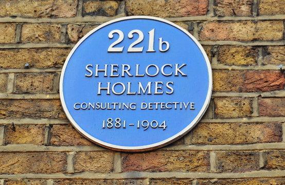 London, UK - April 2019: Plate with Sherlock Holmes name on Baker street 221b