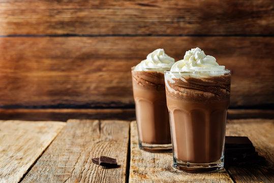 Dark hot chocolate with whipped cream