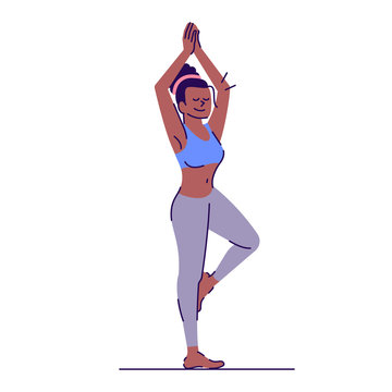 Girl doing yoga flat vector illustration. Vrikshasana. Fitness training. Young african american woman standing in tree pose isolated cartoon character with outline elements on white background