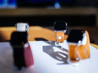 PARIS, FRANCE - OCT 26, 2018: Focus on hero object of the latest Apple Watch Series 4 in Apple Store Computers - focus on Hermes Luxury Watch