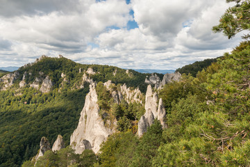 aerial view of Sulov Rocks - limestone formation in Northern Slovakia