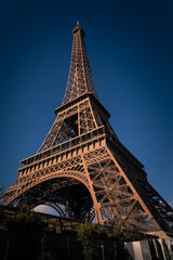 World famous Eiffel tower at the city center of Paris, France.