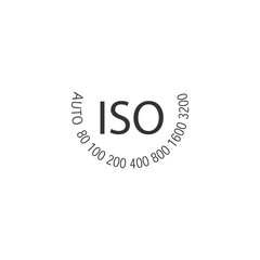 ISO - camera film speed standard wheel, numbers in circle. Stock vector illustration isolated on white
