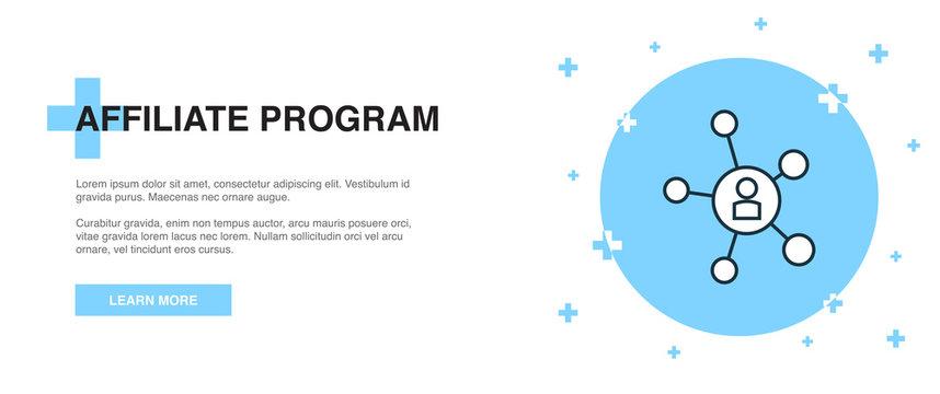 Affiliate Program icon, banner outline template concept. Affiliate Program line illustration