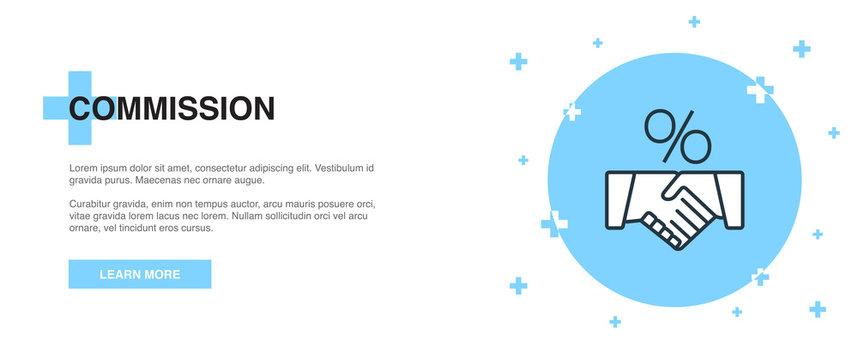 Commission icon, banner outline template concept. Commission line illustration