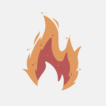 Fire flame icon with grunge texture. Vintage hipster fire flame logo, label, badge. Vector illustration.