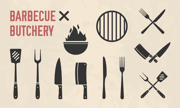 Barbecue and Butcher shop icons. BBQ tools isolated on background with grunge texture. Vector illustration