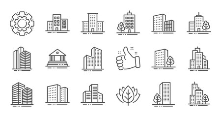 Buildings line icons. Bank, Hotel, Courthouse. City, Real estate, Architecture buildings icons. Hospital, town house, museum. Urban architecture, city skyscraper. Linear set. Quality line set. Vector Fotomurales