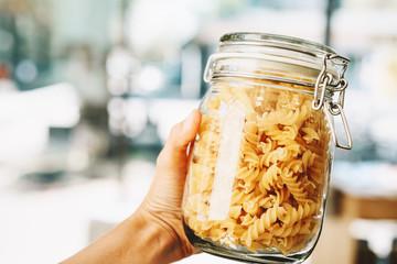 Pasta in glass jar in zero waste shop
