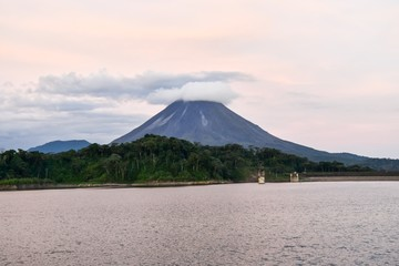 volcano in fuerteventura canary islands spain, photo as a background ,taken in Arenal Volcano lake park in Costa rica central america Fototapete