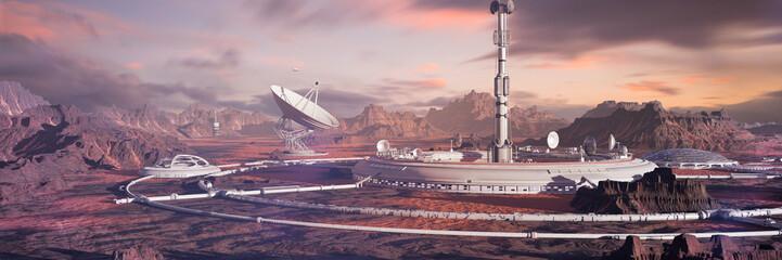 habitat on Mars surface, colony in desert landscape on the red planet Fototapete