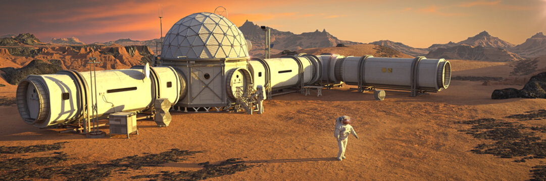 Mars base with astronaut, habitat in martian landscape