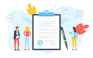 Fototapeta Sign a document. Contract, agreement, signature, application form, business deal concepts. People standing around clipboard with document with stamp and pen. Modern flat design. Vector illustration