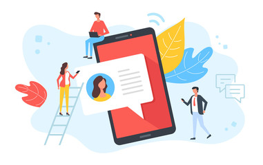 Texting, chatting, online messaging, sms concepts. People and mobile phone with speech bubble message. Modern flat design. Vector illustration