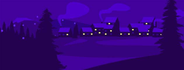 Canvas Prints Violet Flat design village vector background. Vector illustration - night mountains landscape. Village night mountain background.