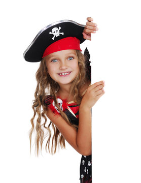 Vertical picture of a pirate girl with a blank board