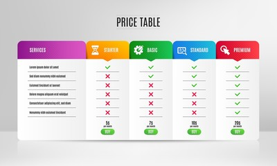 Cogwheel, Search photo and Time icons simple set. Pricing table, price list. Click here sign. Edit settings, Find image, Clock. Push button. Technology set. Comparison table with price. Vector