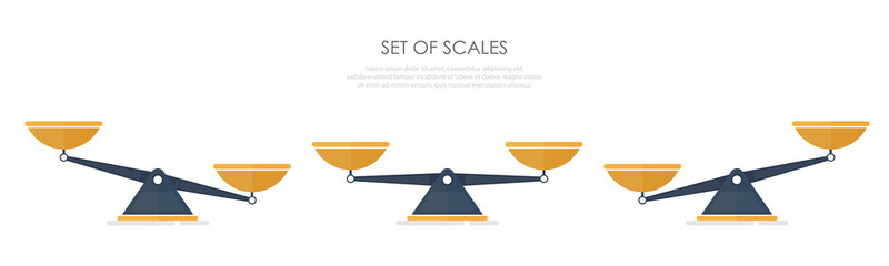 Vector of set of different scales in a flat style on white background.