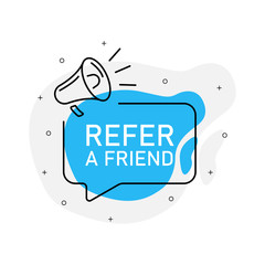 Refer a friend of marketing design badge with loudspeaker blue color. Vector illustration on white background.