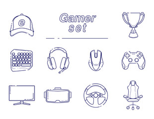 eSports set, Gaming gadgets, line set icon. Modern devices for video games, headset for virtual reality, equipment for gamers, joysticks, keypad.