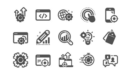 Seo icons. Website stats, Target and Increase sales signs. Traffic management, social network and seo optimization icons. Classic set. Quality set. Vector