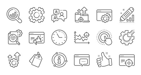 Seo line icons. Website stats, Target and Increase sales signs. Traffic management, social network and seo optimization icons. Linear set. Quality line set. Vector