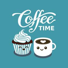 Cupcake kawaii and cup of coffee. Sweet breakfast. Vector flat illustration. Japanese kawaii cartoon.