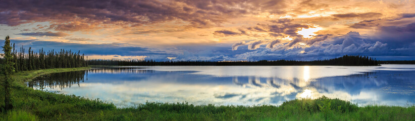 Alaskan summer - serene view of Wonder Lake, Denali National Park