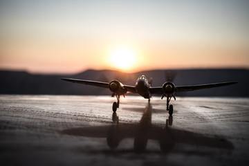 World war ii fighter plane at sunset or dark orange fire explosion sky. War scene. German figher at...