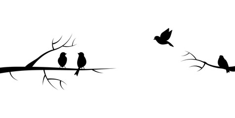 Flying bird branch silhouette illustration Wall mural