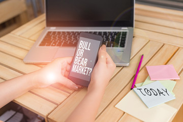 Text sign showing Bull Or Bear Market Question. Business photo showcasing asking someone about his marketing method woman laptop computer smartphone office supplies technological devices