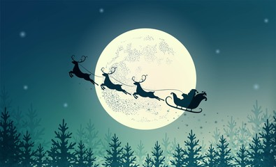 Santa Claus on sleigh with reindeer on background of full moon. Merry Christmas and happy New year. Design for holiday poster, banner, invitation, congratulations, greeting card.  Vector illustration