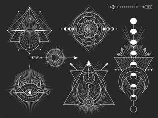 Vector set of Sacred geometric symbols and figures on black background. Abstract mystic signs collection. Fototapete